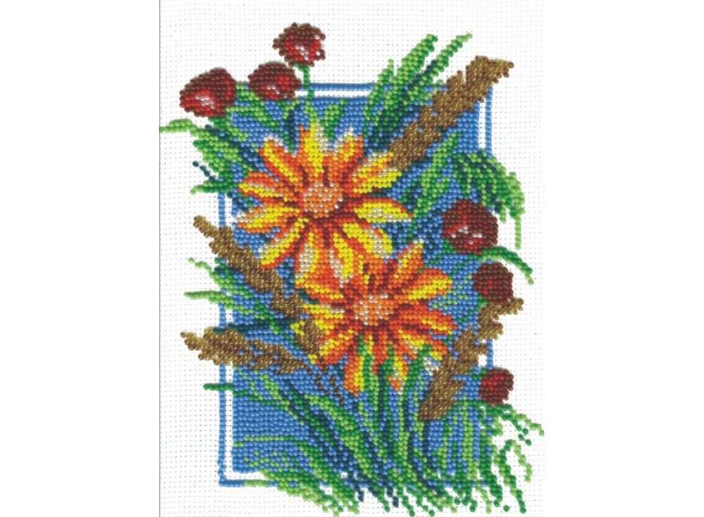 Набор вышивки бисером «Ромашки и маки»Вышивка бисером МП-студия<br><br><br>Артикул: БК-013<br>Основа: канва Aida 14<br>Размер: 17х20 см<br>Техника вышивки: бисер<br>Тип схемы вышивки: Цветная схема<br>Цвет канвы: Белый<br>Количество цветов: 14<br>Рисунок на канве: не нанесён<br>Техника: Вышивка бисером