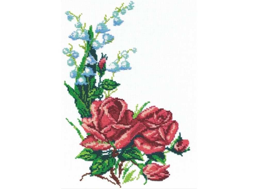 Набор вышивки бисером «Розы и ландыши»Вышивка бисером МП-студия<br><br><br>Артикул: БК-015<br>Основа: канва Aida 14<br>Размер: 22х31 см<br>Техника вышивки: бисер<br>Тип схемы вышивки: Цветная схема<br>Цвет канвы: Белый<br>Количество цветов: 12<br>Рисунок на канве: не нанесён<br>Техника: Вышивка бисером