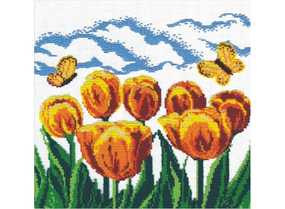 Набор вышивки бисером «Жёлтые тюльпаны»Вышивка бисером МП-студия<br><br><br>Артикул: БК-019<br>Основа: канва Aida 14<br>Размер: 27х27 см<br>Техника вышивки: бисер<br>Тип схемы вышивки: Цветная схема<br>Цвет канвы: Белый<br>Количество цветов: 10<br>Рисунок на канве: не нанесён<br>Техника: Вышивка бисером
