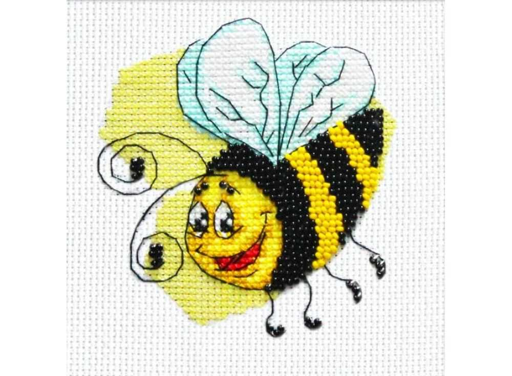 Набор вышивки бисером «Пчелка»Вышивка смешанной техникой Паутинка<br><br><br>Артикул: БК-111<br>Основа: канва Aida 14<br>Размер: 13х13 см<br>Техника вышивки: бисер+счетный крест<br>Тип схемы вышивки: Цветная схема<br>Цвет канвы: Белый<br>Количество цветов: Бисер: 2 цвета, нитки: 6 цветов<br>Заполнение: Частичное<br>Рисунок на канве: не нанесён<br>Техника: Смешанная техника