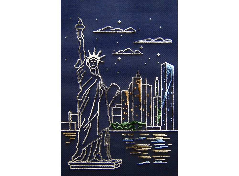 Набор вышивки бисером «Нью-Йорк»Вышивка бисером МП-студия<br><br><br>Артикул: БК-184<br>Основа: канва Aida 14<br>Размер: 30х20 см<br>Техника вышивки: бисер<br>Тип схемы вышивки: Цветная схема<br>Цвет канвы: Синий<br>Количество цветов: 5<br>Рисунок на канве: не нанесён<br>Техника: Вышивка бисером