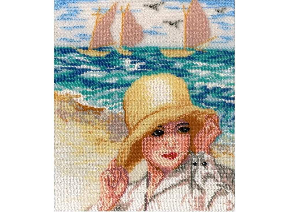 Набор вышивки бисером «Дама у моря»Вышивка бисером МП-студия<br><br><br>Артикул: БК-246<br>Основа: канва Aida 14<br>Размер: 23х29 см<br>Техника вышивки: бисер<br>Тип схемы вышивки: Цветная схема<br>Цвет канвы: Белый<br>Количество цветов: 21<br>Рисунок на канве: не нанесён<br>Техника: Вышивка бисером