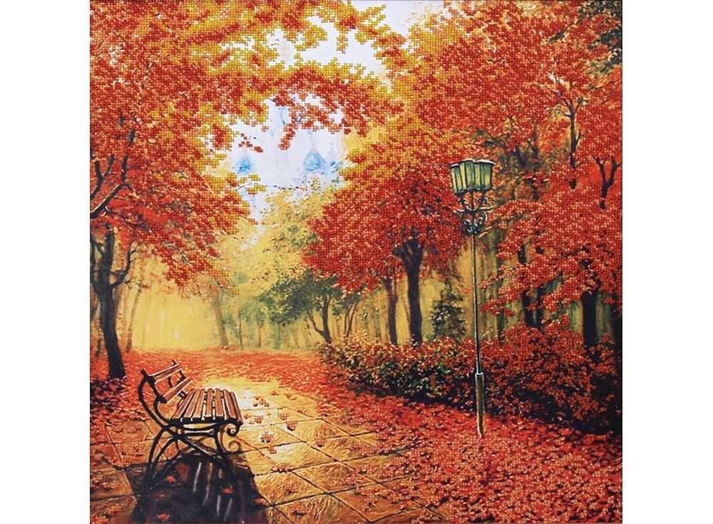 Набор вышивки бисером «Осенний парк»Вышивка бисером Магия канвы<br><br><br>Артикул: Б-010<br>Основа: ткань с нанесенным рисунком<br>Размер: 39х40 см<br>Техника вышивки: бисер<br>Тип схемы вышивки: Цветная схема вышивки<br>Заполнение: Частичное