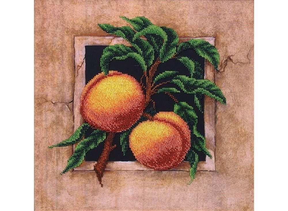 Набор вышивки бисером «Наш сад. Персики»Вышивка бисером Магия канвы<br><br><br>Артикул: Б-032<br>Основа: ткань<br>Размер: 29,5х29,5 см<br>Техника вышивки: бисер<br>Тип схемы вышивки: Цветная схема<br>Заполнение: Частичное<br>Рисунок на канве: нанесён рисунок<br>Техника: Вышивка бисером