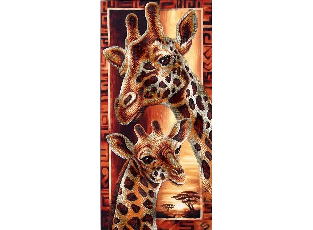 Набор вышивки бисером «Африка. Жирафы»Вышивка бисером Магия канвы<br><br><br>Артикул: Б-057<br>Основа: ткань<br>Размер: 22х46 см<br>Техника вышивки: бисер<br>Тип схемы вышивки: Цветная схема<br>Заполнение: Частичное<br>Рисунок на канве: нанесён рисунок<br>Техника: Вышивка бисером