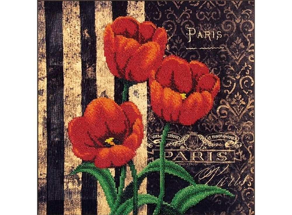 Набор вышивки бисером «Французские тюльпаны»Вышивка бисером Магия канвы<br><br><br>Артикул: Б-065<br>Основа: ткань<br>Размер: 29х29 см<br>Техника вышивки: бисер<br>Тип схемы вышивки: Цветная схема<br>Заполнение: Частичное<br>Рисунок на канве: нанесён рисунок<br>Техника: Вышивка бисером