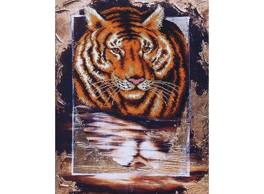 Набор вышивки бисером «Тигр»Вышивка бисером Магия канвы<br><br><br>Артикул: Б-067<br>Основа: ткань<br>Размер: 34x45 см<br>Техника вышивки: бисер<br>Тип схемы вышивки: Цветная схема<br>Заполнение: Частичное<br>Рисунок на канве: нанесён рисунок<br>Техника: Вышивка бисером