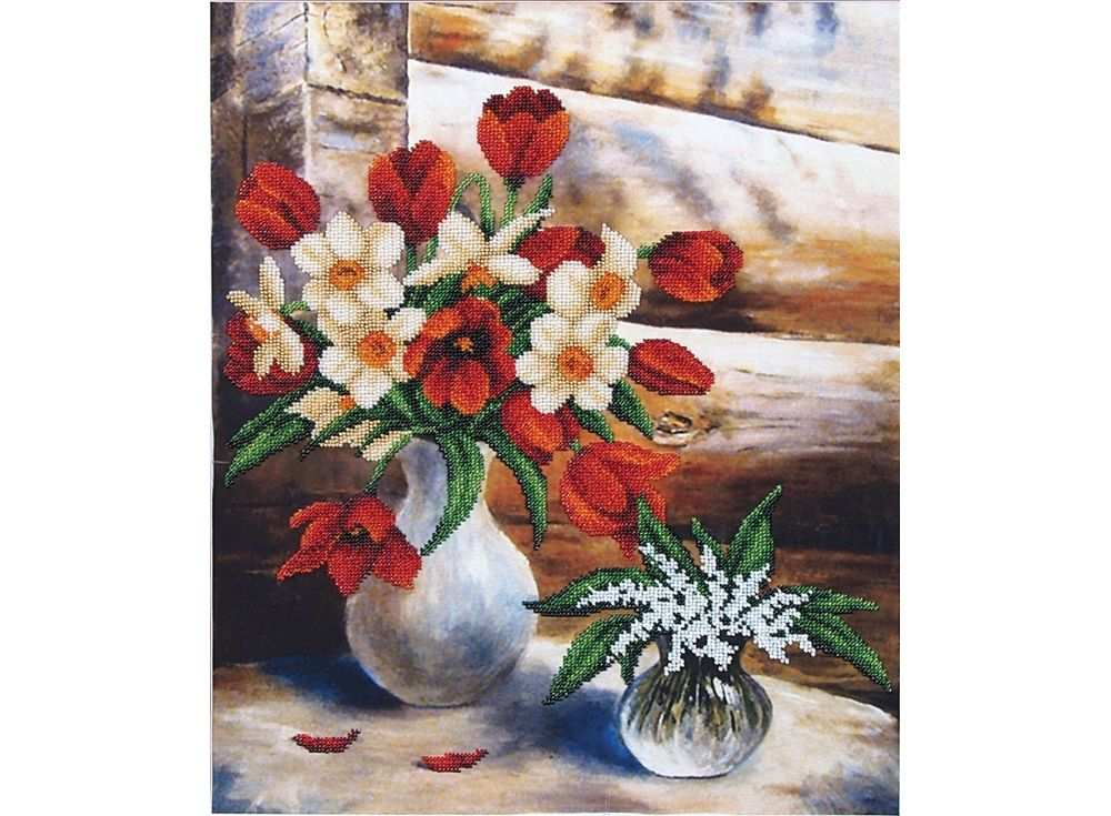 Набор вышивки бисером «Майские цветы»Вышивка бисером Магия канвы<br><br><br>Артикул: Б-070<br>Основа: ткань<br>Размер: 34x42 см<br>Техника вышивки: бисер<br>Тип схемы вышивки: Цветная схема<br>Заполнение: Частичное<br>Рисунок на канве: нанесён рисунок<br>Техника: Вышивка бисером