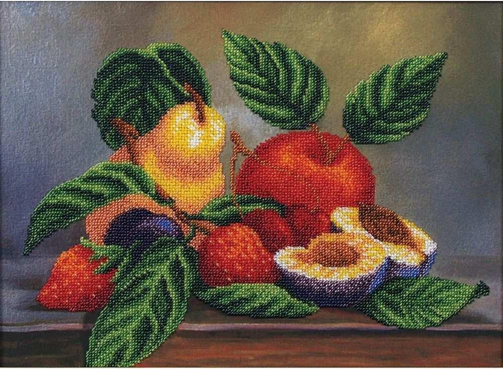 Набор вышивки бисером «Ассорти фруктов»Вышивка бисером Магия канвы<br><br><br>Артикул: Б-073<br>Основа: ткань с нанесенным рисунком<br>Размер: 34х25 см<br>Техника вышивки: бисер<br>Тип схемы вышивки: Цветная схема вышивки<br>Заполнение: Частичное