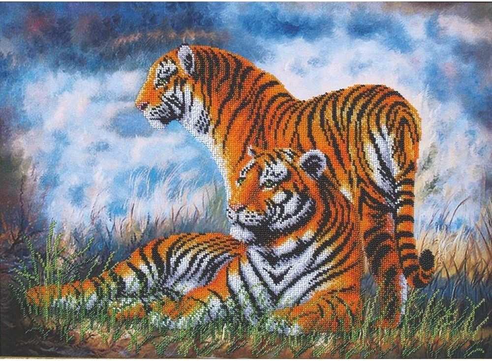 Набор вышивки бисером «Туманное утро. Тигры»Вышивка бисером Магия канвы<br><br><br>Артикул: Б-110<br>Основа: ткань<br>Размер: 46,5х33,5 см<br>Техника вышивки: бисер<br>Тип схемы вышивки: Цветная схема<br>Заполнение: Частичное<br>Рисунок на канве: нанесён рисунок<br>Техника: Вышивка бисером