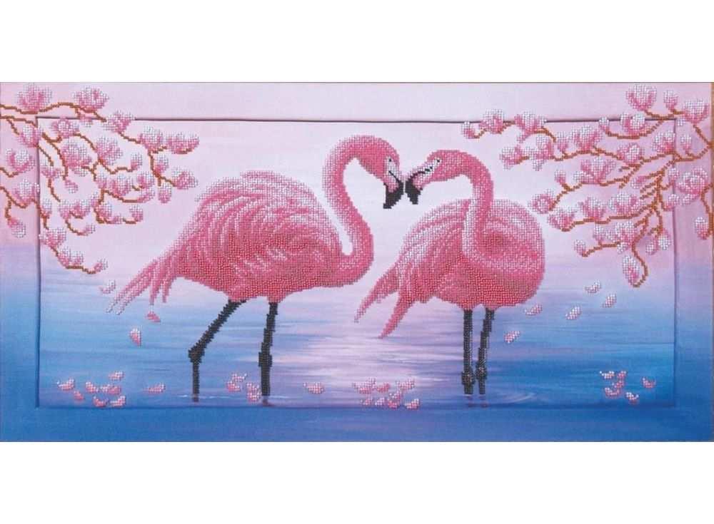Набор вышивки бисером «Розовые фламинго»Вышивка бисером Магия канвы<br><br><br>Артикул: Б-114<br>Основа: ткань с нанесенным рисунком<br>Размер: 57х28,5 см<br>Техника вышивки: бисер<br>Тип схемы вышивки: Цветная схема вышивки<br>Заполнение: Частичное
