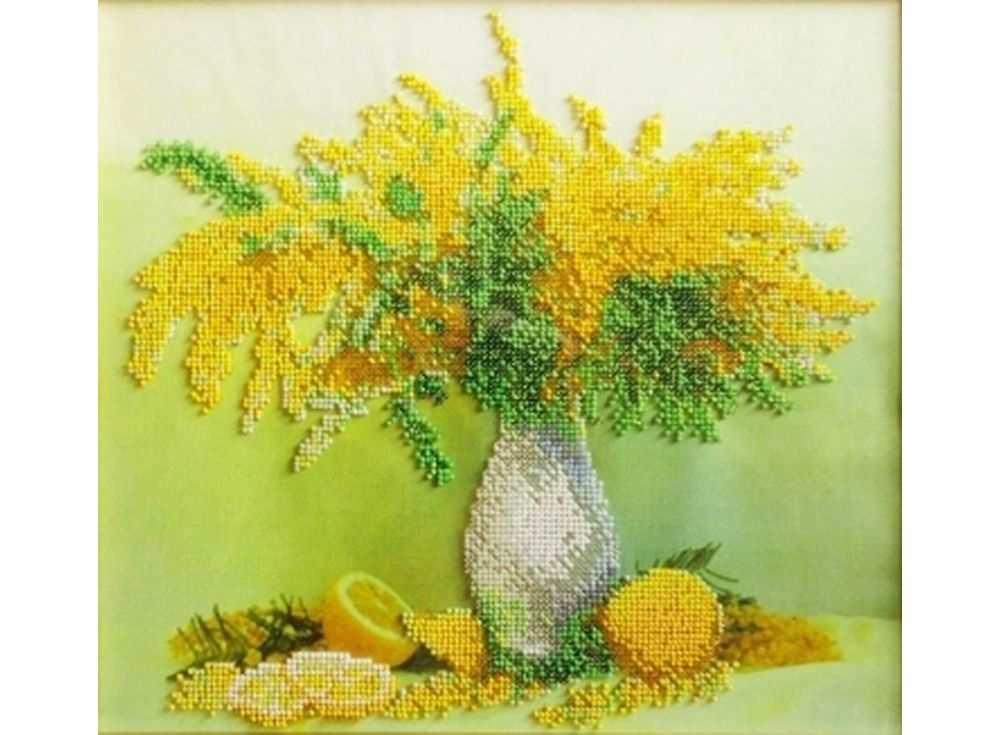 Набор вышивки бисером «Мимоза с лимонами»Вышивка бисером Паутинка<br><br><br>Артикул: Б-1203<br>Основа: льняная ткань<br>Размер: 28х32 см<br>Техника вышивки: бисер<br>Тип схемы вышивки: Цветная схема<br>Количество цветов: 21<br>Заполнение: Частичное<br>Рисунок на канве: нанесён рисунок<br>Техника: Вышивка бисером
