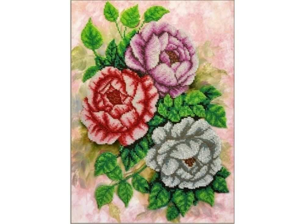 Набор вышивки бисером «Чайные розы»Вышивка бисером Паутинка<br><br><br>Артикул: Б-1209<br>Основа: льняная ткань<br>Размер: 28х38 см<br>Техника вышивки: бисер<br>Тип схемы вышивки: Цветная схема<br>Количество цветов: 19<br>Заполнение: Частичное<br>Рисунок на канве: нанесён рисунок<br>Техника: Вышивка бисером