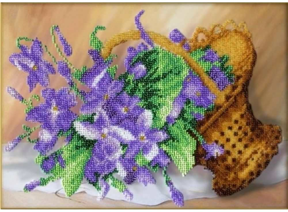 Набор вышивки бисером «Фиалки»Вышивка бисером Паутинка<br><br><br>Артикул: Б-1225<br>Основа: льняная ткань<br>Размер: 20х27,5 см<br>Техника вышивки: бисер<br>Тип схемы вышивки: Цветная схема<br>Количество цветов: 17<br>Заполнение: Частичное<br>Рисунок на канве: нанесён рисунок<br>Техника: Вышивка бисером