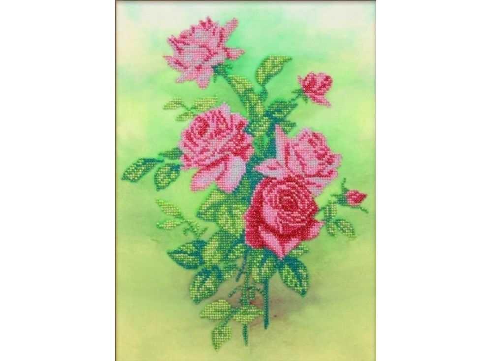 Набор вышивки бисером «Розовые розы»Вышивка бисером Паутинка<br><br><br>Артикул: Б-1227<br>Основа: льняная ткань<br>Размер: 37x22,5 см<br>Техника вышивки: бисер<br>Тип схемы вышивки: Цветная схема<br>Количество цветов: 11<br>Заполнение: Частичное<br>Рисунок на канве: нанесён рисунок<br>Техника: Вышивка бисером