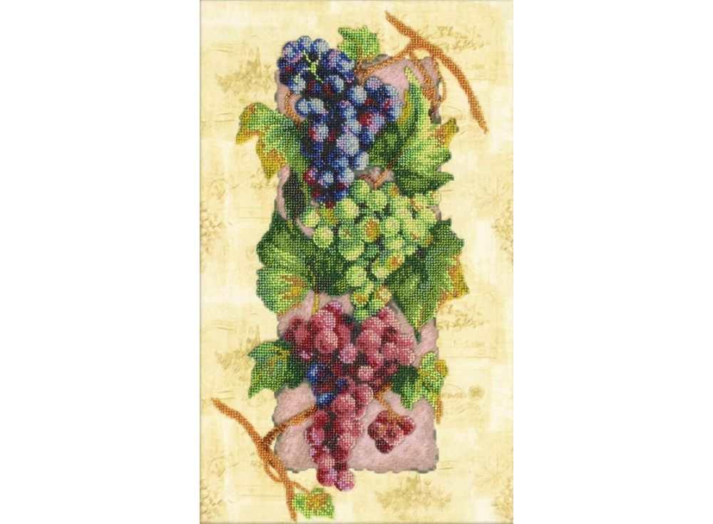 Набор вышивки бисером «Виноград»Вышивка бисером Паутинка<br><br><br>Артикул: Б-1229<br>Основа: льняная ткань<br>Размер: 28х40,5 см<br>Техника вышивки: бисер<br>Тип схемы вышивки: Цветная схема<br>Количество цветов: 24<br>Заполнение: Частичное<br>Рисунок на канве: нанесён рисунок<br>Техника: Вышивка бисером