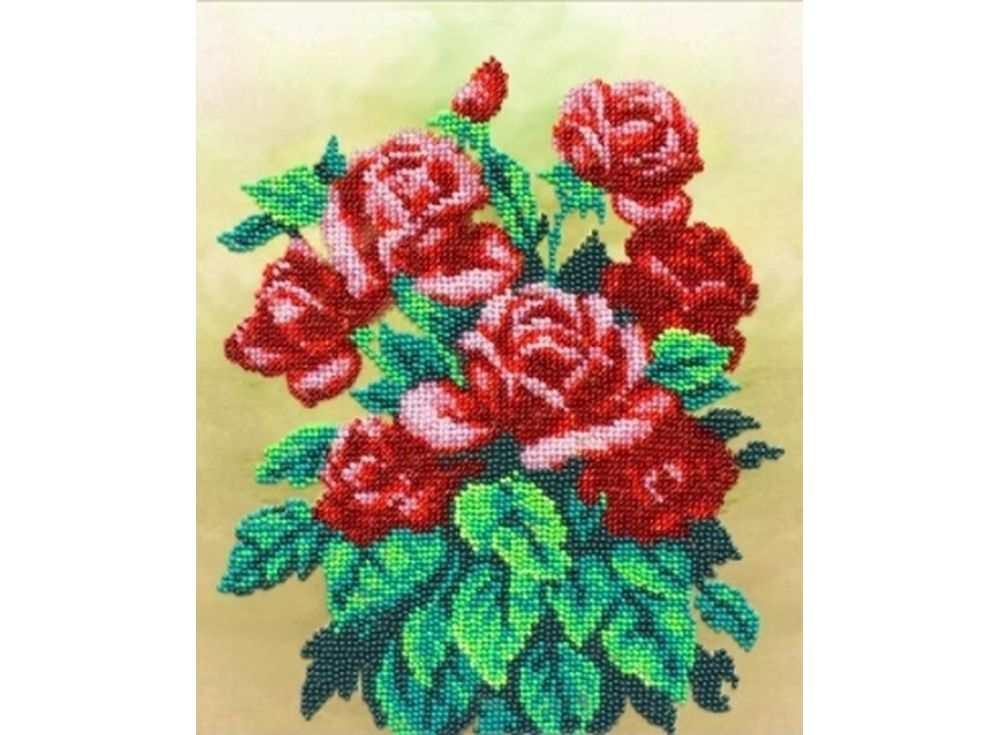 Набор вышивки бисером «Букет алых роз»Вышивка бисером Паутинка<br><br><br>Артикул: Б-1234<br>Основа: льняная ткань<br>Размер: 24х19,5 см<br>Техника вышивки: бисер<br>Тип схемы вышивки: Цветная схема<br>Количество цветов: 10<br>Заполнение: Частичное<br>Рисунок на канве: нанесён рисунок<br>Техника: Вышивка бисером