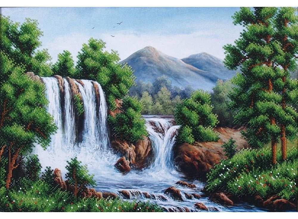 Набор вышивки бисером «Водопад в горах»Вышивка бисером Магия канвы<br><br><br>Артикул: Б-125<br>Основа: ткань с нанесенным рисунком<br>Размер: 40х27,5 см<br>Техника вышивки: бисер<br>Тип схемы вышивки: Цветная схема вышивки<br>Заполнение: Частичное