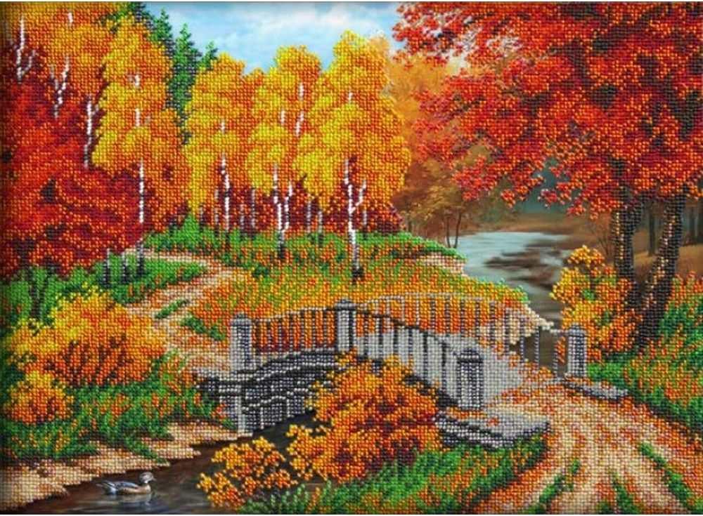 Набор вышивки бисером «Осенняя пора»Вышивка бисером Паутинка<br><br><br>Артикул: Б-1436<br>Основа: льняная ткань<br>Размер: 28х38 см<br>Техника вышивки: бисер<br>Тип схемы вышивки: Цветная схема<br>Количество цветов: 17<br>Заполнение: Частичное<br>Рисунок на канве: нанесён рисунок<br>Техника: Вышивка бисером