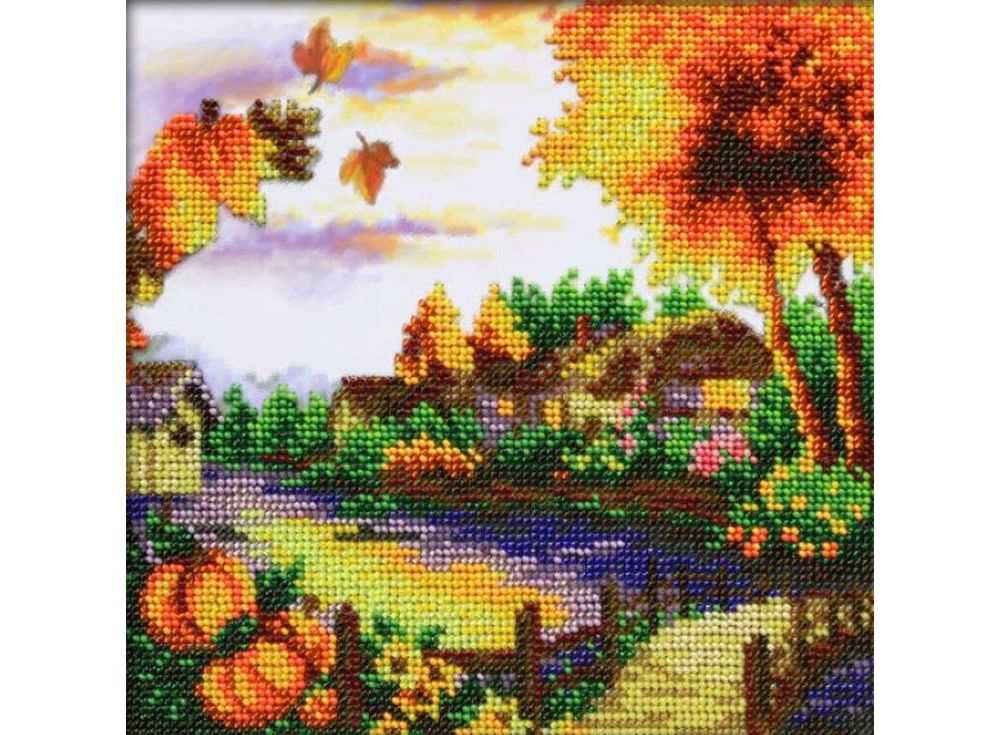 Набор вышивки бисером «Осенний пейзаж»Вышивка бисером Паутинка<br><br><br>Артикул: Б-1442<br>Основа: льняная ткань с нанесенным рисунком<br>Размер: 20х20 см<br>Техника вышивки: бисер<br>Тип схемы вышивки: Цветная символьная схема<br>Количество цветов: 22<br>Заполнение: Частичное
