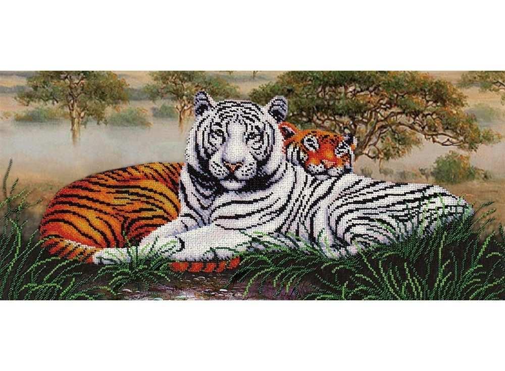 Набор вышивки бисером «Саванна. Тигры»Вышивка бисером Магия канвы<br><br><br>Артикул: Б-237<br>Основа: ткань<br>Размер: 55х25,5 см<br>Техника вышивки: бисер<br>Тип схемы вышивки: Цветная схема<br>Заполнение: Частичное<br>Рисунок на канве: нанесён рисунок<br>Техника: Вышивка бисером