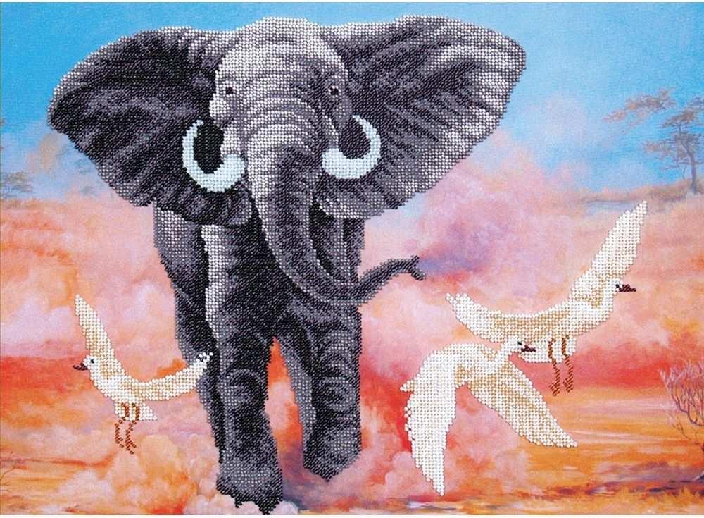 Набор вышивки бисером «Африканский слон»Вышивка бисером Магия канвы<br><br><br>Артикул: Б-293<br>Основа: ткань с нанесенным рисунком<br>Размер: 42х31 см<br>Техника вышивки: бисер<br>Тип схемы вышивки: Цветная схема вышивки<br>Заполнение: Частичное