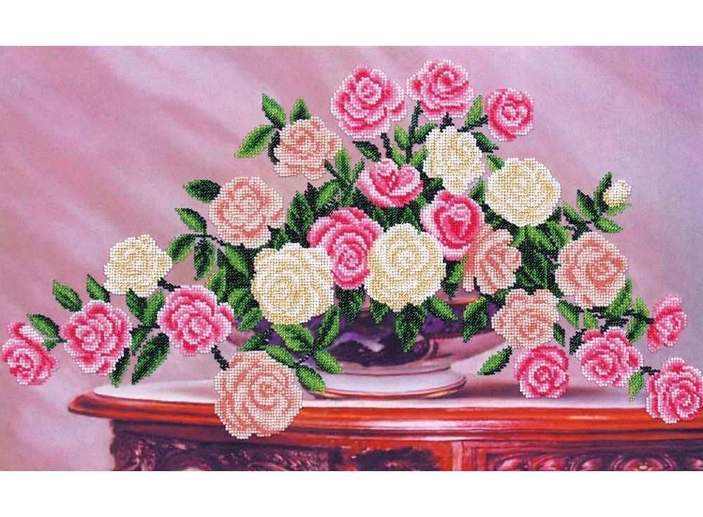 Набор вышивки бисером «Садовые розы»Вышивка бисером Магия канвы<br><br><br>Артикул: Б-296<br>Основа: ткань<br>Размер: 50x30 см<br>Техника вышивки: бисер<br>Тип схемы вышивки: Цветная схема<br>Заполнение: Частичное<br>Рисунок на канве: нанесён рисунок<br>Техника: Вышивка бисером