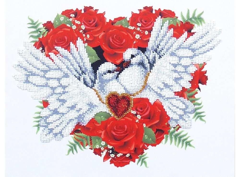 Набор вышивки бисером «С любовью»Вышивка бисером Магия канвы<br><br><br>Артикул: Б-309<br>Основа: ткань<br>Размер: 30х24 см<br>Техника вышивки: бисер<br>Тип схемы вышивки: Цветная схема<br>Заполнение: Частичное<br>Рисунок на канве: нанесён рисунок<br>Техника: Вышивка бисером