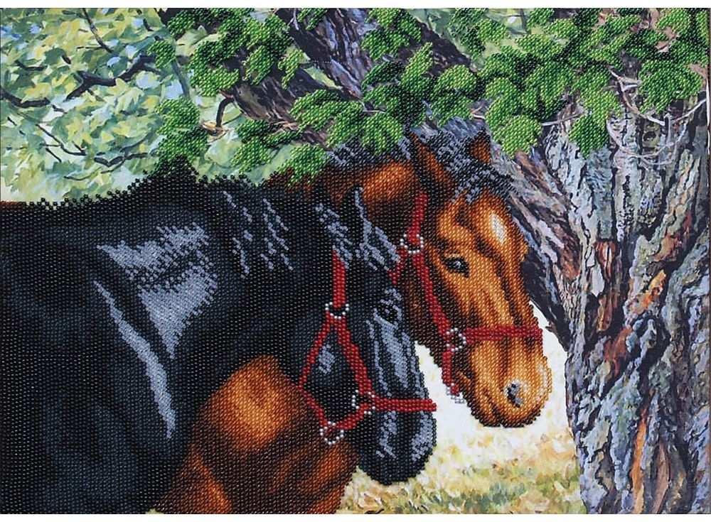 Набор вышивки бисером «Пара лошадей»Вышивка бисером Магия канвы<br><br><br>Артикул: Б-335<br>Основа: ткань с нанесенным рисунком<br>Размер: 34,5х25 см<br>Техника вышивки: бисер<br>Тип схемы вышивки: Цветная схема вышивки<br>Заполнение: Частичное