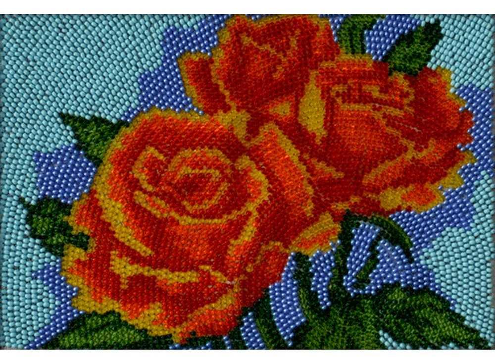 Набор вышивки бисером «Алые розы»Вышивка бисером Вышиваем бисером<br><br><br>Артикул: В-101<br>Основа: ткань<br>Размер: 12х19 см<br>Техника вышивки: вышивка бисером по спирали<br>Тип схемы вышивки: Цветная схема<br>Рисунок на канве: нанесена схема<br>Техника: Вышивка бисером