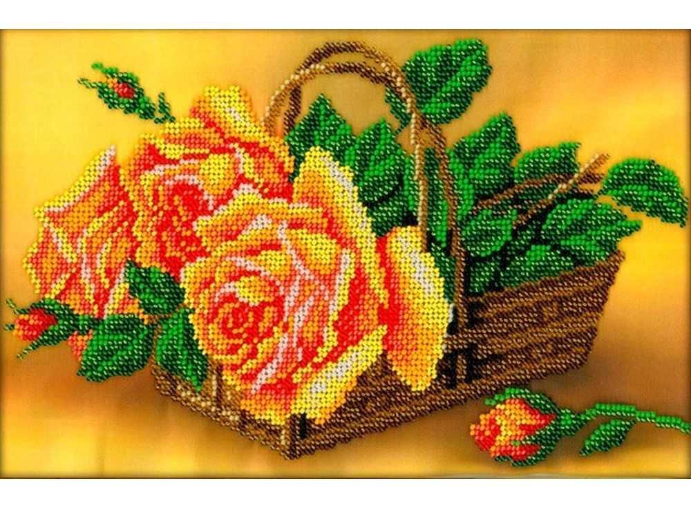 Набор вышивки бисером «Розы в корзине»Вышивка бисером Вышиваем бисером<br><br><br>Артикул: В-109<br>Основа: ткань<br>Размер: 18х27 см<br>Техника вышивки: бисер<br>Тип схемы вышивки: Цветная схема<br>Рисунок на канве: нанесена схема<br>Техника: Вышивка бисером