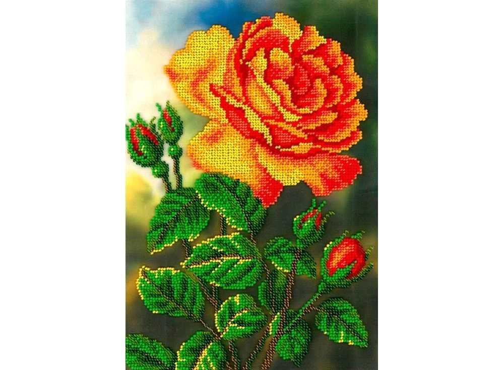 Набор вышивки бисером «Цветущая роза»Вышивка бисером Вышиваем бисером<br><br><br>Артикул: В-110<br>Основа: ткань<br>Размер: 19х27 см<br>Техника вышивки: бисер<br>Тип схемы вышивки: Цветная схема<br>Рисунок на канве: нанесена схема<br>Техника: Вышивка бисером
