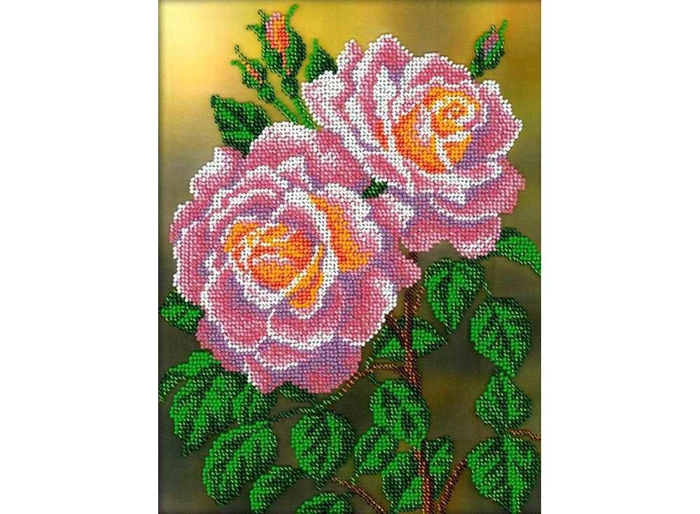 Набор вышивки бисером «Розовые розы»Вышивка бисером Вышиваем бисером<br><br><br>Артикул: В-112<br>Основа: ткань<br>Размер: 19,5х26,5 см<br>Техника вышивки: бисер<br>Тип схемы вышивки: Цветная схема<br>Рисунок на канве: нанесена схема<br>Техника: Вышивка бисером