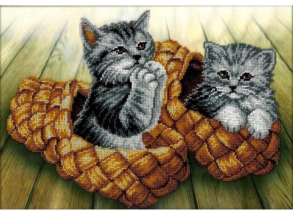 Набор вышивки бисером «Котята»Вышивка бисером Вышиваем бисером<br><br><br>Артикул: В-118<br>Основа: ткань для вышивки бисером с нанесенной схемой<br>Размер: 26х36 см<br>Техника вышивки: бисер<br>Тип схемы вышивки: Цветная схема вышивки