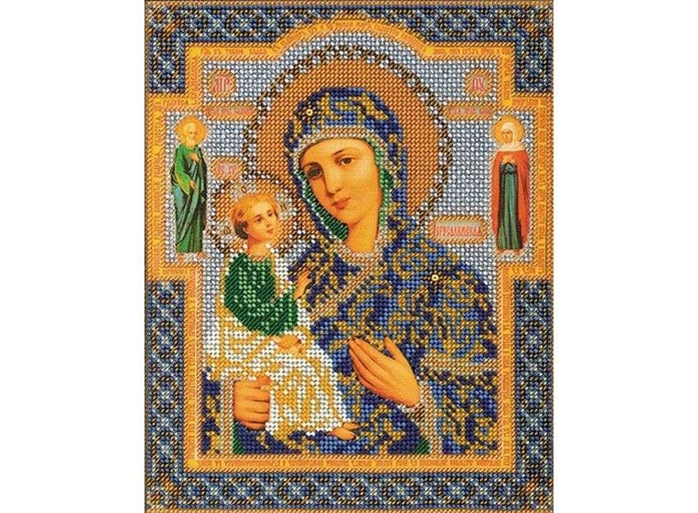 Набор вышивки бисером «Иерусалимская Богородица»Вышивка бисером Кроше (Радуга бисера)<br><br><br>Артикул: В-164<br>Основа: ткань<br>Размер: 20x24 см<br>Техника вышивки: бисер<br>Тип схемы вышивки: Цветная схема<br>Заполнение: Частичное<br>Рисунок на канве: нанесён рисунок и схема<br>Техника: Вышивка бисером