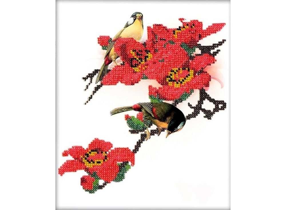 Набор вышивки бисером «Птица в цветах»Вышивка бисером Вышиваем бисером<br><br><br>Артикул: В-17<br>Основа: ткань для вышивки бисером с нанесенной схемой<br>Размер: 19х20 см<br>Техника вышивки: бисер<br>Тип схемы вышивки: Цветная схема вышивки