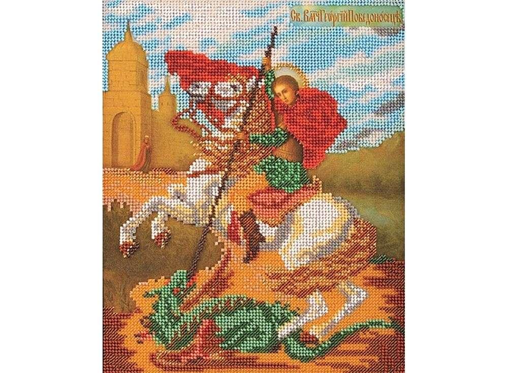 Набор вышивки бисером «Святой Георгий Победоносец»Вышивка бисером Кроше (Радуга бисера)<br><br><br>Артикул: В-175<br>Основа: Ткань<br>Размер: 21х26 см<br>Техника вышивки: бисер<br>Тип схемы вышивки: Цветная схема вышивки<br>Заполнение: Частичное