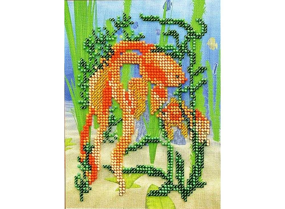 Набор вышивки бисером «Золотая рыбка»Вышивка бисером Кроше (Радуга бисера)<br><br><br>Артикул: В-216<br>Основа: ткань<br>Размер: 18х22 см<br>Техника вышивки: бисер<br>Тип схемы вышивки: Цветная схема<br>Заполнение: Частичное<br>Рисунок на канве: нанесён рисунок и схема<br>Техника: Вышивка бисером