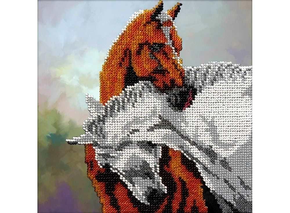 Набор вышивки бисером «Лошади»Вышивка бисером Вышиваем бисером<br><br><br>Артикул: В-23<br>Основа: ткань<br>Размер: 19х19 см<br>Техника вышивки: бисер<br>Тип схемы вышивки: Цветная схема<br>Рисунок на канве: нанесена схема<br>Техника: Вышивка бисером