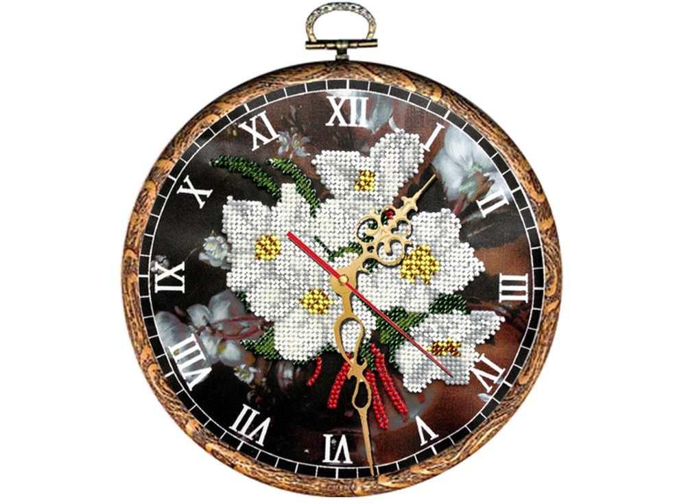 Набор вышивки бисером «Часы. Ромашки»Вышивка часов Вышиваем бисером<br><br><br>Артикул: В-31<br>Основа: ткань<br>Размер: диаметр 18 см<br>Техника вышивки: бисер<br>Тип схемы вышивки: Цветная схема<br>Рисунок на канве: нанесена схема<br>Техника: Вышивка часов