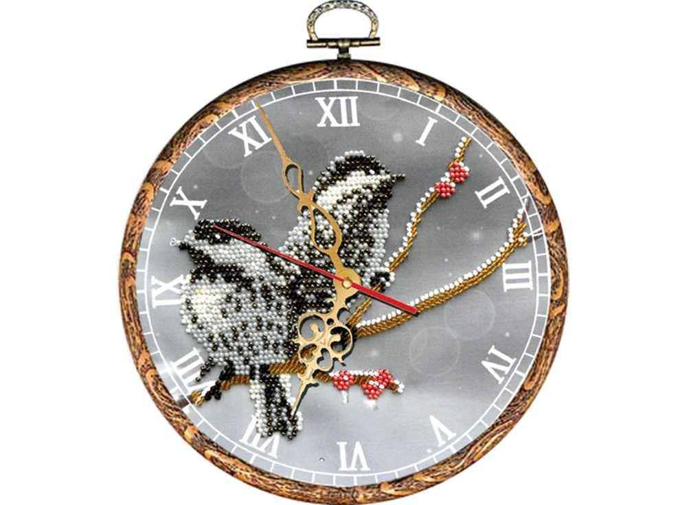 Набор вышивки бисером «Часы. Воробьи»Вышивка часов Вышиваем бисером<br><br><br>Артикул: В-32<br>Основа: ткань<br>Размер: диаметр 18 см<br>Техника вышивки: бисер<br>Тип схемы вышивки: Цветная схема<br>Рисунок на канве: нанесена схема<br>Техника: Вышивка часов