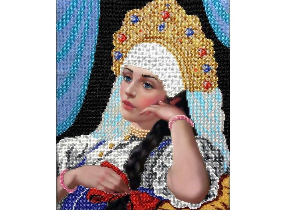 Набор вышивки бисером «Красавица»Вышивка бисером Вышиваем бисером<br><br><br>Артикул: В-38<br>Основа: ткань<br>Размер: 26х32 см<br>Техника вышивки: бисер<br>Тип схемы вышивки: Цветная схема<br>Рисунок на канве: нанесена схема<br>Техника: Вышивка бисером