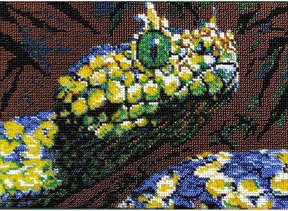 Набор вышивки бисером «Змея»Вышивка бисером Вышиваем бисером<br><br><br>Артикул: В-48<br>Основа: ткань<br>Размер: 19х26 см<br>Техника вышивки: бисер<br>Тип схемы вышивки: Цветная схема<br>Рисунок на канве: нанесена схема<br>Техника: Вышивка бисером