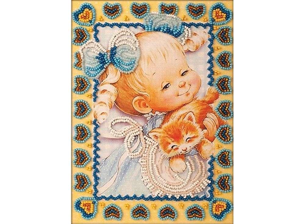 Набор вышивки бисером «Милый котенок»Вышивка бисером Кроше (Радуга бисера)<br><br><br>Артикул: В-504<br>Основа: ткань<br>Размер: 13х18 см<br>Техника вышивки: бисер<br>Тип схемы вышивки: Цветная схема<br>Заполнение: Частичное<br>Рисунок на канве: нанесён рисунок и схема<br>Техника: Вышивка бисером