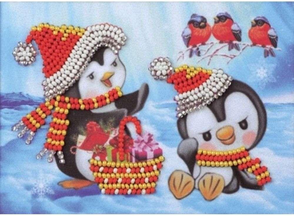 Набор вышивки бисером «Пингвины»Вышивка бисером Кроше (Радуга бисера)<br><br><br>Артикул: В-524<br>Основа: ткань<br>Размер: 15х10 см<br>Техника вышивки: бисер<br>Тип схемы вышивки: Цветная схема<br>Заполнение: Частичное<br>Рисунок на канве: нанесён рисунок и схема<br>Техника: Вышивка бисером