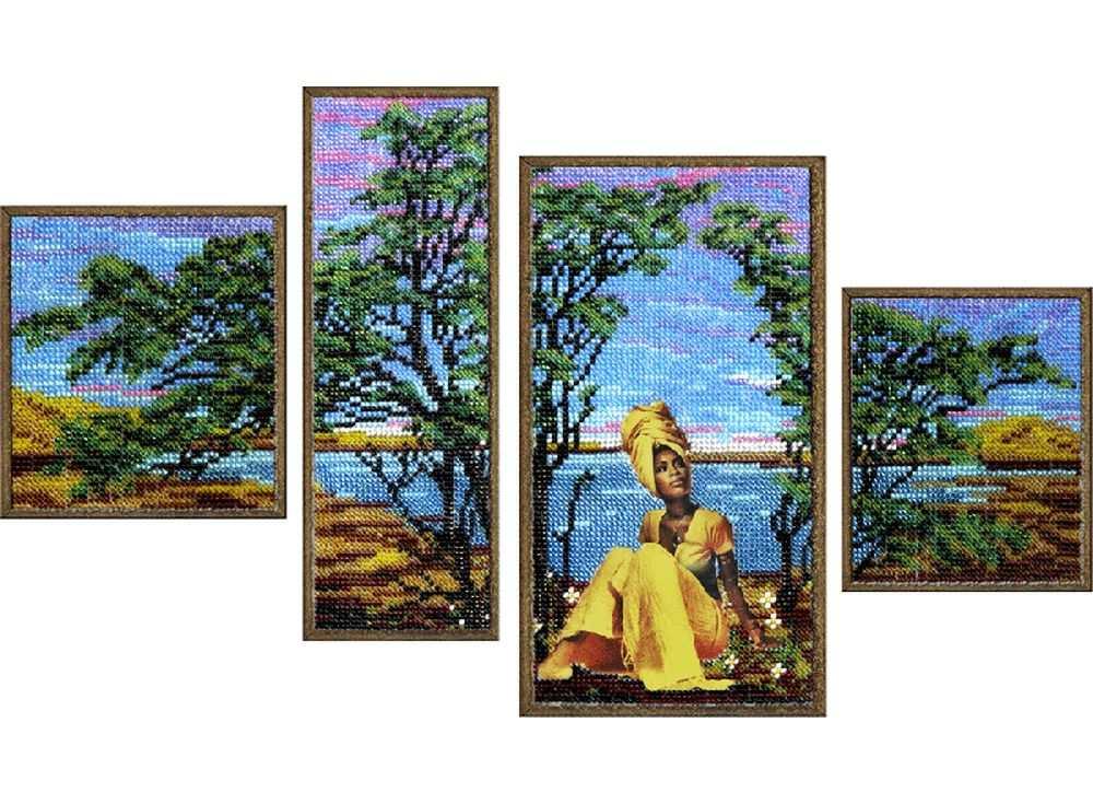 Набор вышивки бисером «Полиптих. Квартет Африка»Вышивка бисером Вышиваем бисером<br><br><br>Артикул: В-59<br>Основа: ткань<br>Размер: 10x10,5 см; 7x22 см; 21,5x11см; 9,5x11 см<br>Техника вышивки: бисер<br>Тип схемы вышивки: Цветная схема<br>Рисунок на канве: нанесена схема<br>Техника: Вышивка бисером