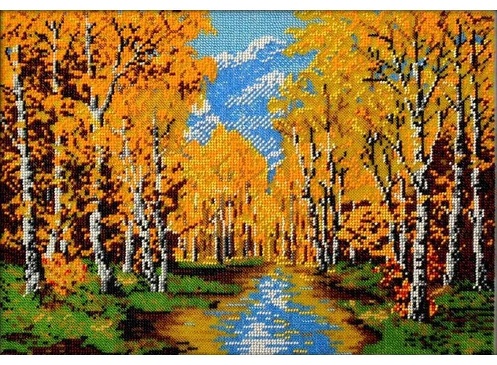 Набор вышивки бисером «Золотая осень»Вышивка бисером Вышиваем бисером<br><br><br>Артикул: В-75<br>Основа: ткань<br>Размер: 26х37,5 см<br>Техника вышивки: бисер<br>Тип схемы вышивки: Цветная схема<br>Рисунок на канве: нанесена схема<br>Техника: Вышивка бисером
