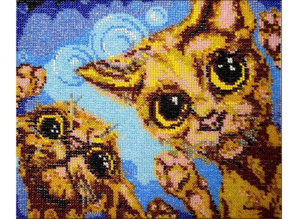 Набор вышивки бисером «Коты»Вышивка бисером Вышиваем бисером<br><br><br>Артикул: В-81<br>Основа: ткань<br>Размер: 18,5х23 см<br>Техника вышивки: бисер<br>Тип схемы вышивки: Цветна схема<br>Рисунок на канве: нанесена схема<br>Техника: Вышивка бисером