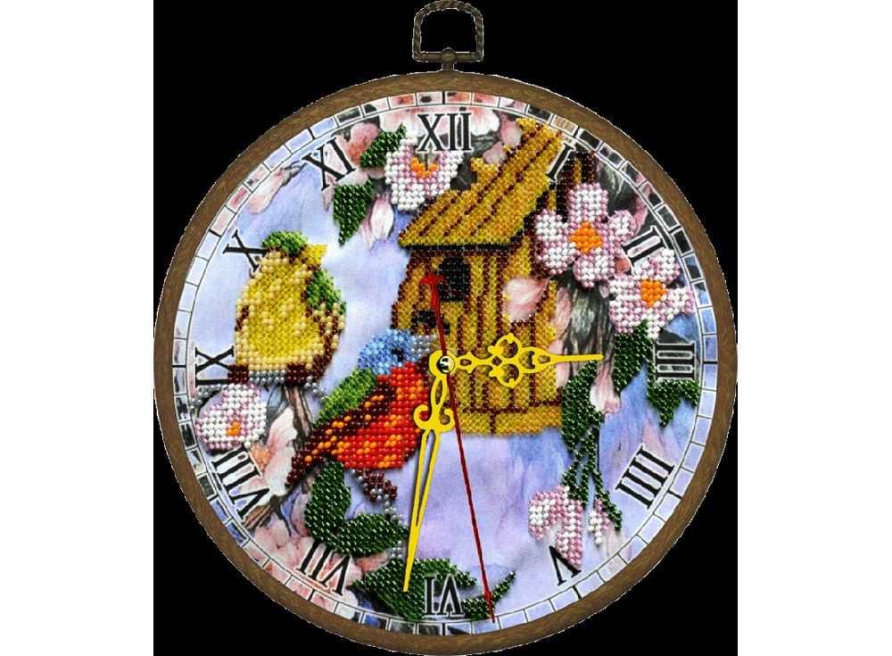 Набор вышивки бисером «Часы. Птичий дом»Вышивка часов Вышиваем бисером<br><br><br>Артикул: В-87<br>Основа: ткань<br>Размер: диаметр 18 см<br>Техника вышивки: бисер<br>Тип схемы вышивки: Цветная схема<br>Рисунок на канве: нанесена схема<br>Техника: Вышивка часов