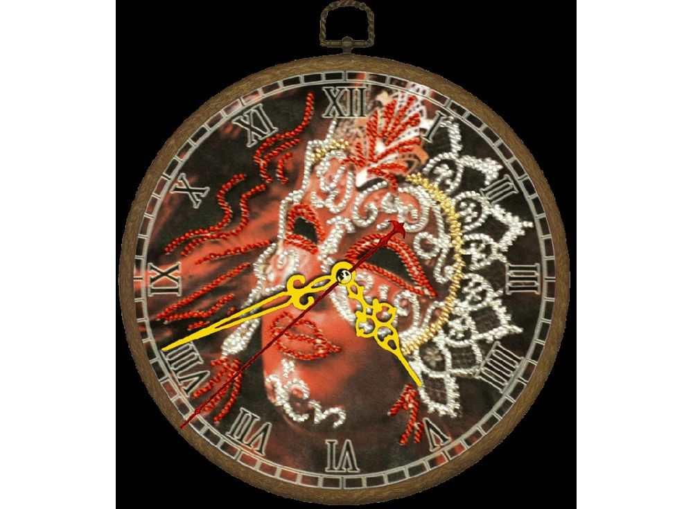 Набор вышивки бисером «Часы. Маска»Вышивка часов Вышиваем бисером<br><br><br>Артикул: В-88<br>Основа: ткань<br>Размер: диаметр 18 см<br>Техника вышивки: бисер<br>Тип схемы вышивки: Цветная схема<br>Рисунок на канве: нанесена схема<br>Техника: Вышивка часов
